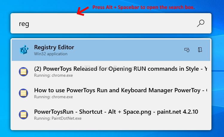 Alt + Spacebar Search Box