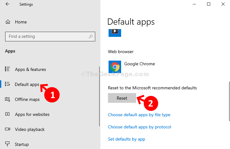 Apps Default Apps Reset To The Microsoft Recommended Default Reset