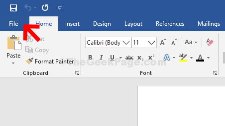 Blank Word File Tab