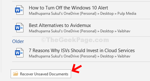Bottom Click On Recover Unsaved Documents