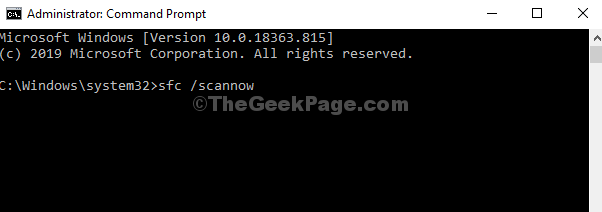 Command Prompt Admin Execute Command Sfc Scannow Enter