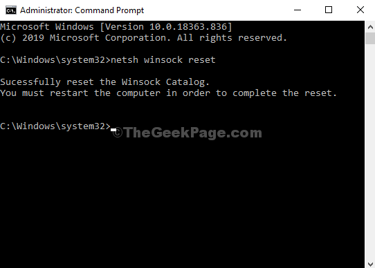 Command Prompt Run Command Netsh Winsock Reset Enter