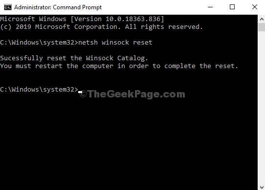 Command Prompt Run Command Netsh Winsock Reset Enter