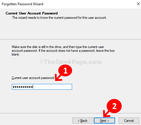 Current User Account Password Next