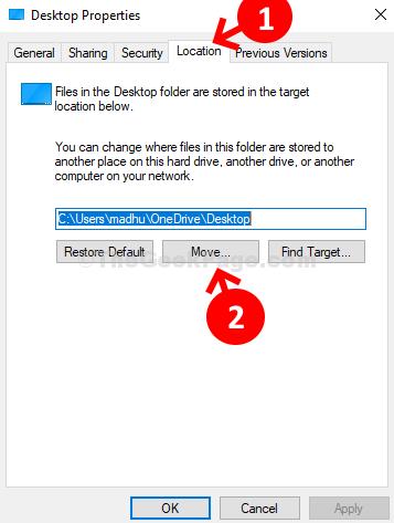 Desktop Properties Location Tab Move