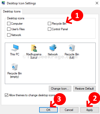 Desktop Icon Settings Uncheck Recycle Bin