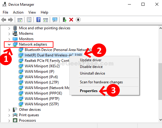 Device Manager Choose Device Network Adapters Intel(r) Dual Band Wireless Properties