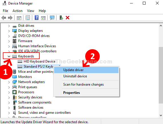 Device Manager Keyboards Standard Ps 2 Keyboard Update Driver