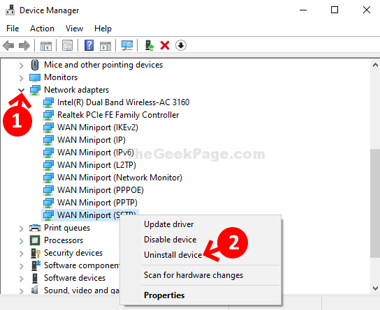 Device Manager Network Adapters Expand Wan Miniport (sstp) Right Click Uninstall Device