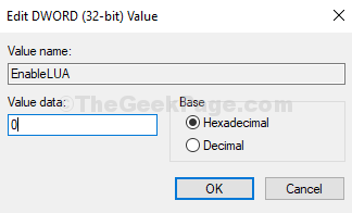 Edit Dword (32 Bit) Value Value Data Change To 0