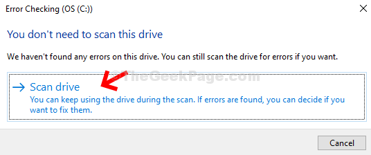 Error Checking Prompt Scan Drive
