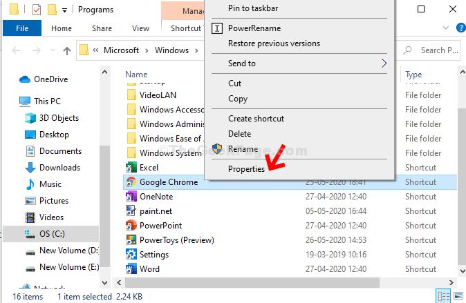 File Location Google Chrome Right Click Properties