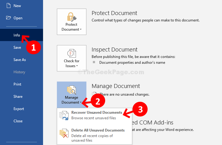 File Tab Info Manage Documents Recover Unsaved Documents