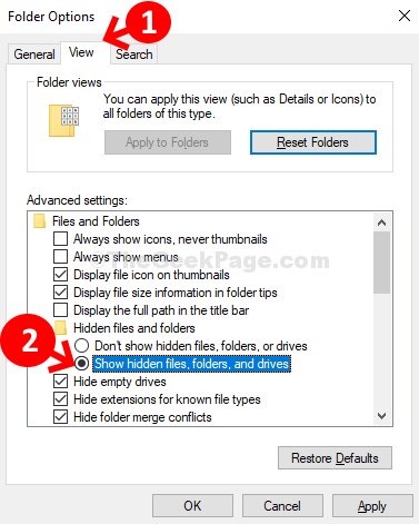 Folder Options View Hidden Files And Folders Show Hidden Files, Folders, And Drivers Apply Ok