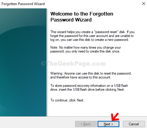 Forgotten Password Wizard Next