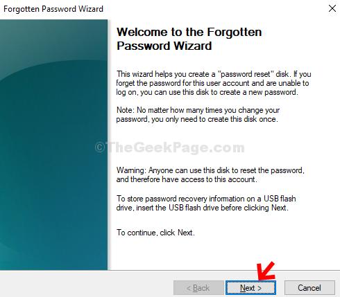 Forgotten Password Wizard Next
