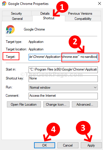 Google Chrome Properties Shortcut Target Add No Sandbox Apply OK