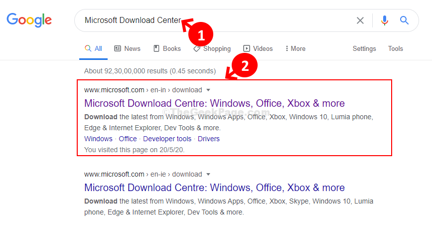 Google Search Microsoft Download Center 1st Resut