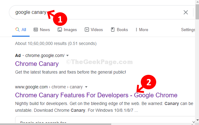Google Search Google Canary Click On 1st Result