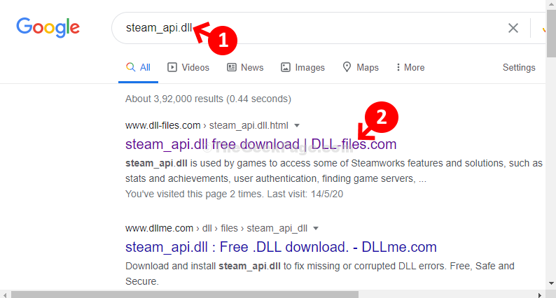Google Search Steam Api Dll Click On 1st Result