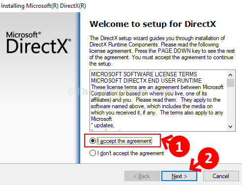 Installer Click Radio Button Accpet Agreement Next