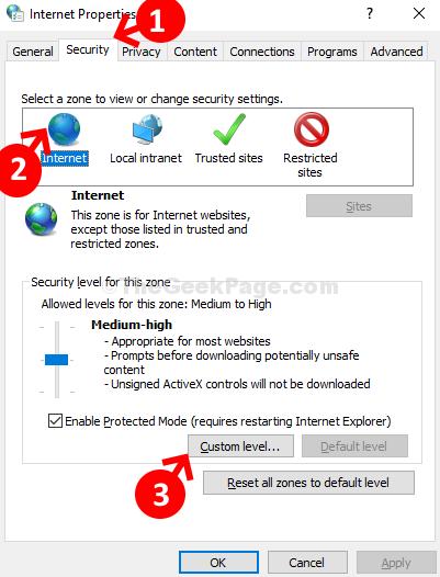 Internet Properties Security Internet Custom Level