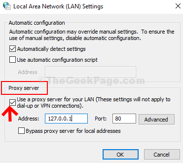 Lan Settings Check Use A Proxy Server For Your Lan