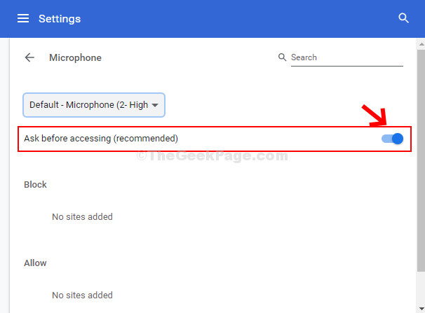 Microphone Turn On Ask Before Accessing (recommended)