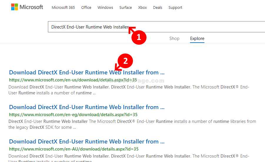 Microsoft Download Center Home Search Directx End User Runtime Web Installer 1st Result