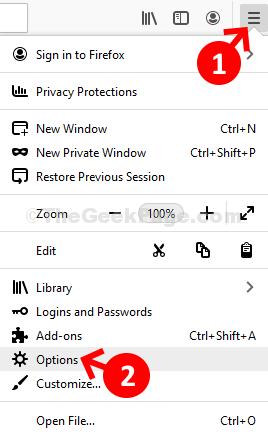 Mozilla Firefox Three Horizontal Bars Options