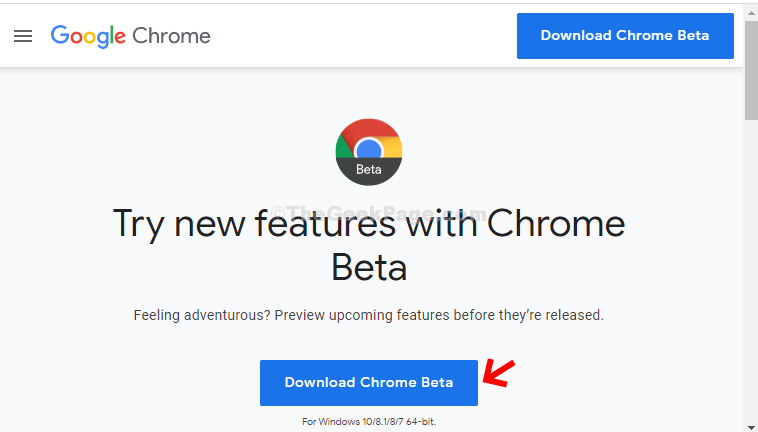 Official Download Page Click Download Chrome Beta