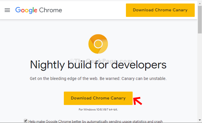 Official Web Page Click On Download Chrome Canary