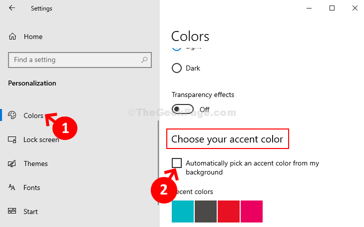 Personalization Colors Choose Your Accent Color Uncheck Automatically Pick An Accent Color From My Background