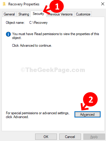 Recovery Properties Security Tab Advanced