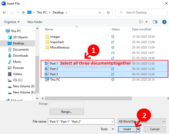 Select All Three Documents Together Insert