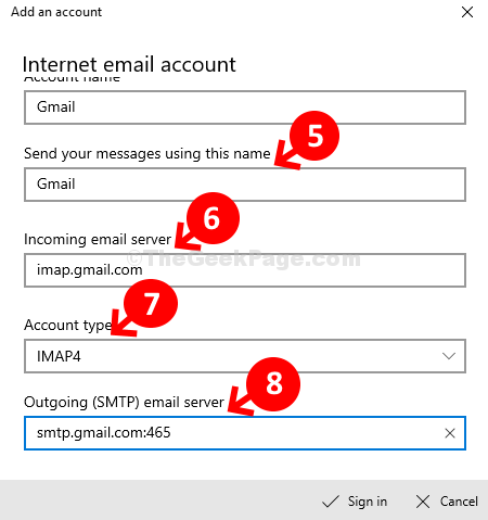 Send Your Messages Usig This Name Incoming Email Server Account Type Outgoing Smtp Email Swerver