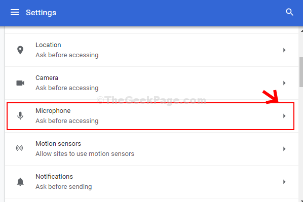 Site Settings Microphone
