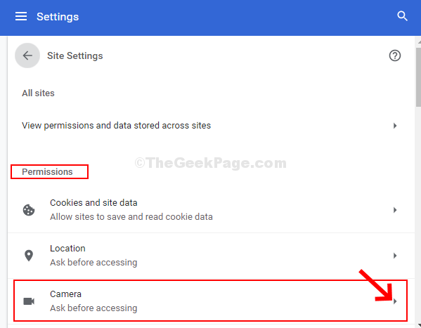 Site Settings Permissions Camera