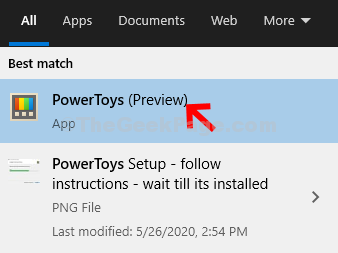 Start Search Powertoys Double Click Result