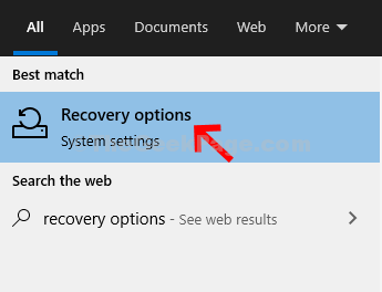 Start Search Recovery Options Double Click
