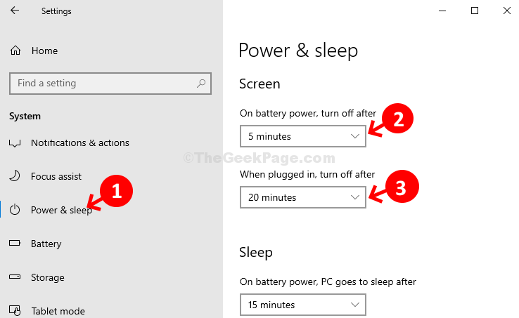 System Power & Sleep Screen Set Time For On Battery Power And When Plugged In