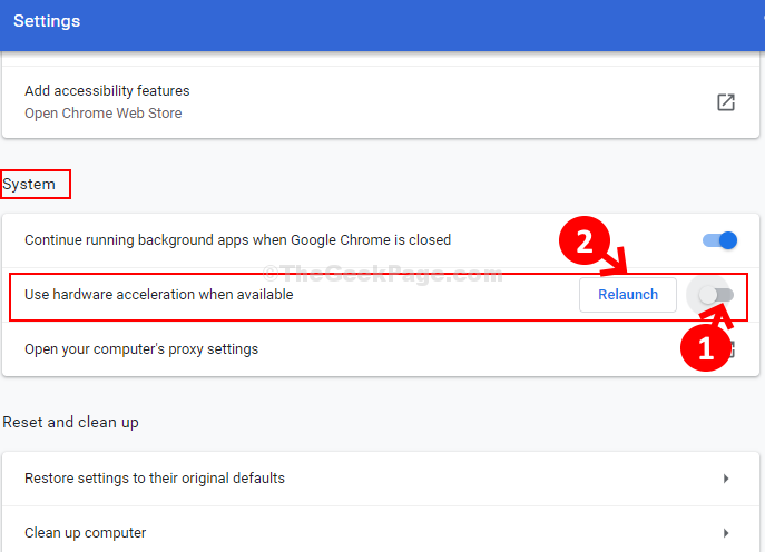 System Use Hardware Acceleration When Available Turn Off Slider Relaunch