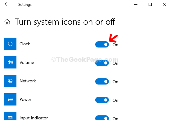 Turn System Icons On Or Off Clock Turn The Toggle On
