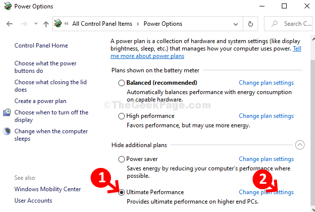 Ultimate Performance Click Radio Button Change Plan Settings