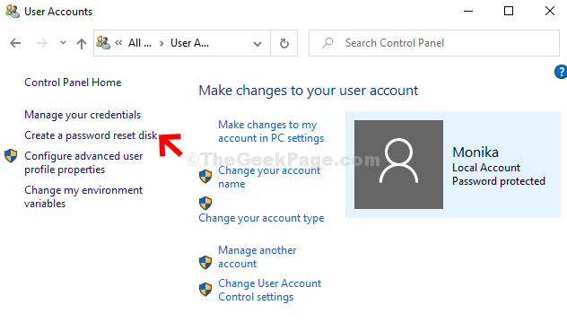 User Accounts Click On Create A Password Reset Disk