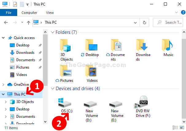 Win + E File Explorer This Pc C Drive