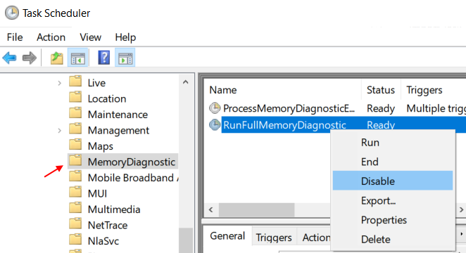 Disable Runfullmemorydiagnostic