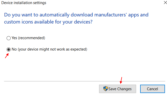 Disable Device Reinstall Settings