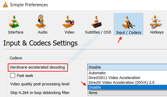 Disable Hardware Accelaration Vlc