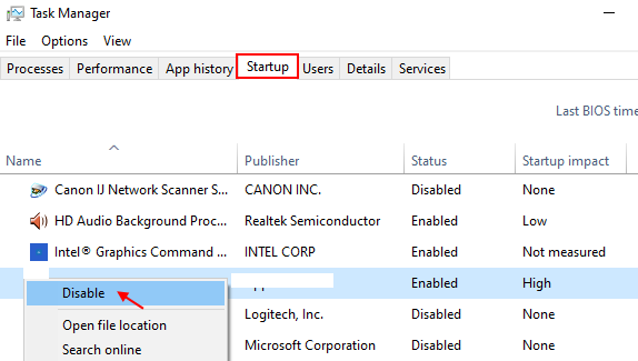 Disable Startup